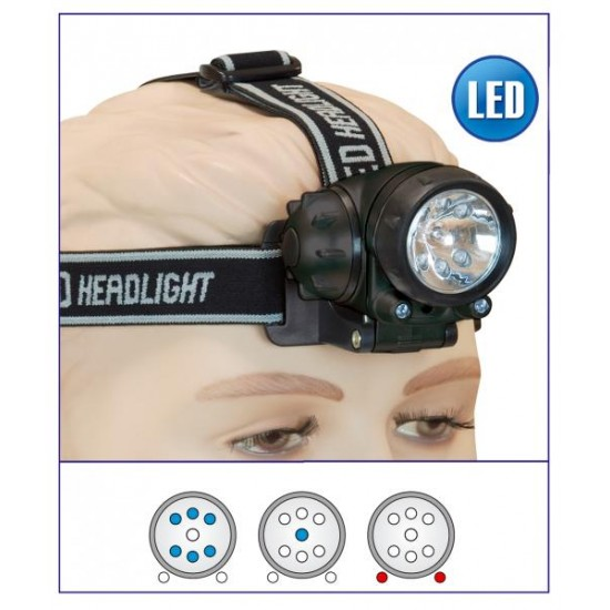 Linterna frontal x6 Led + 2 led rojo