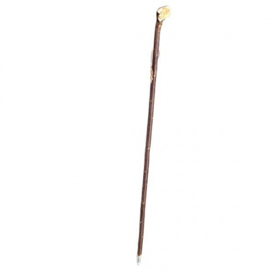 Chestnut walking stick with baton, natural leather