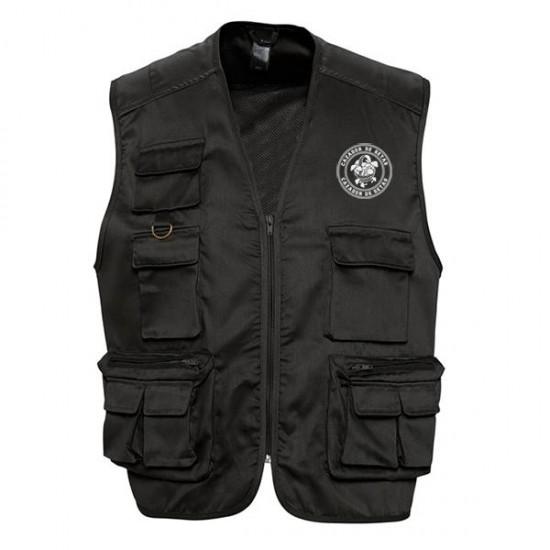 Black multi-pocket vest