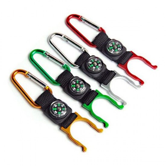 Carabiner bottle holder with compass