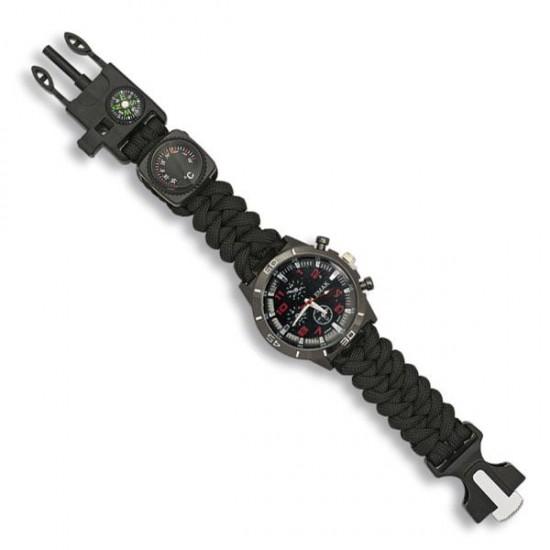 Tactical survival watch black