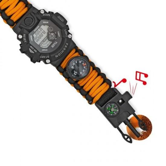 Orange digital survival watch