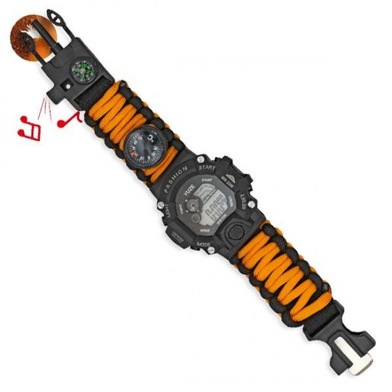 Reloj digital de supervivencia naranja