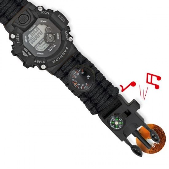 Black digital survival watch