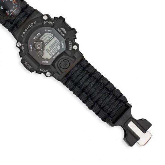 Black digital survival watch