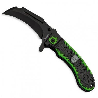 Black-green skull clasp knife