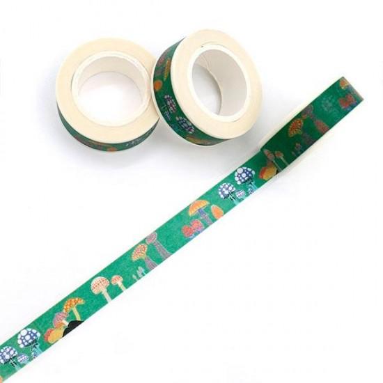 Cinta adhesiva decorada con setas verde