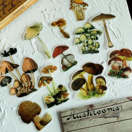 Vintage mushroom stickers 100 pcs