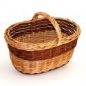 cesta grande de mimbre bicolor con asa baja