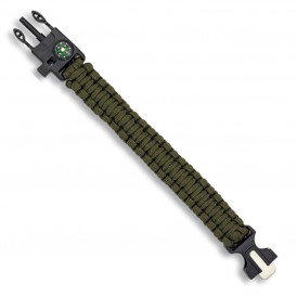 Paracord bracelet with whistle and flint compass Green