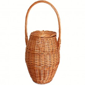 Wicker snail basket with lid and high handle