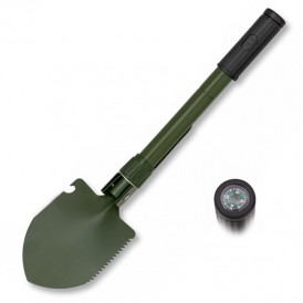 Folding shovel with compass