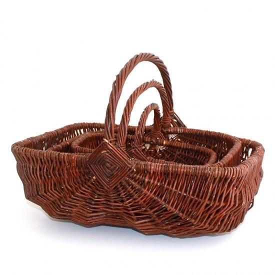 Set of 3 rectangular green wicker baskets