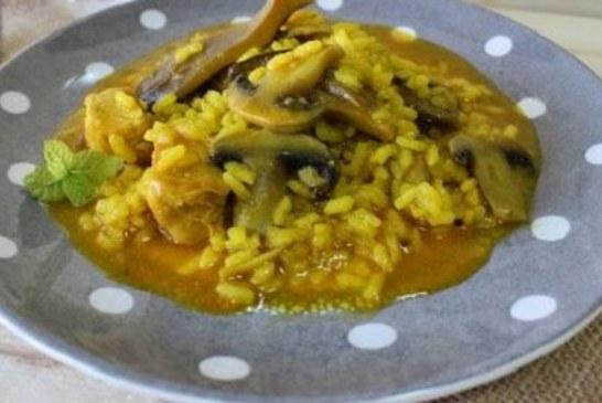 ✅ Arroz tradicional con setas y pollo