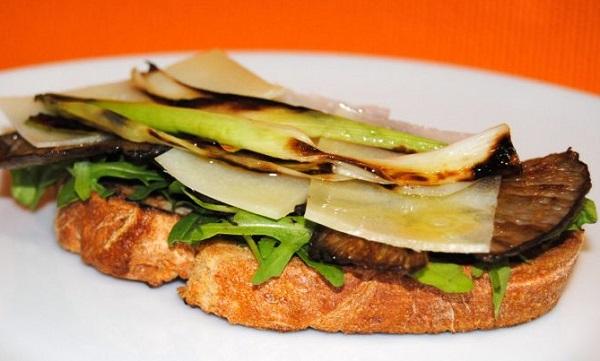 sándwich de setas